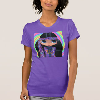 Big Eye Hippie Girl in Purple with Peace Sign T-Shirt