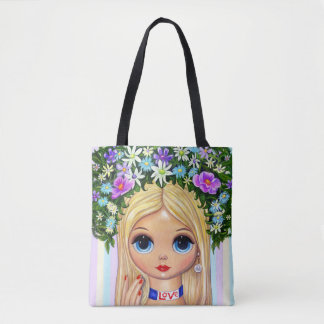 Big Eye Love Girl Hair Flowers Fingernails Cute Tote Bag