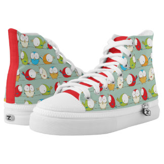 Big Eyed Birds on a Line Pattern Shoes