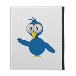 Big-Eyed Blue Cartoon Bird iPad Folio Cover