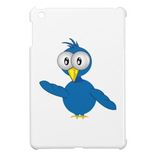 Big-Eyed Blue Cartoon Bird iPad Mini Cover