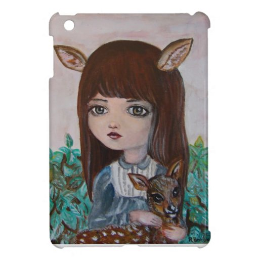 Big eyed deer girl forest girl cute cover for the iPad mini