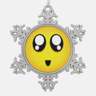 Big eyed Emoji Snowflake Pewter Christmas Ornament