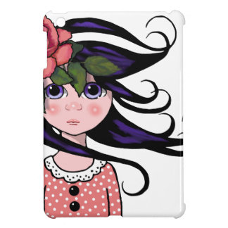 Big-Eyed Girl, Curly Hair, ROSE, Surreal Art iPad Mini Cover