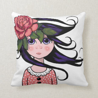 Big-Eyed Girl, Curly Hair, ROSE, Surreal Art Throw Pillow