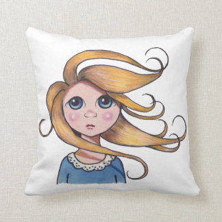 Big-Eyed Girl, Curly Hair, Windy Day, Surreal Art Throw Cushion
