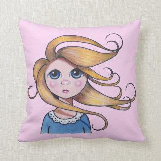 Big-Eyed Girl, Curly Hair, Windy Day Throw Cushions