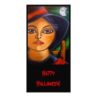 BIG EYED WITCH HALLOWEEN Card Picture Card