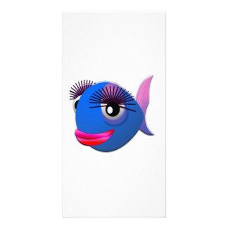 Big Eyelashes Cartoon Fish Photo Card
