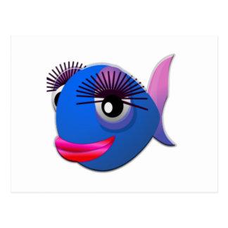 Big Eyelashes Cartoon Fish Postcard
