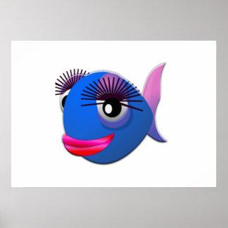 Big Eyelashes Cartoon Fish Poster