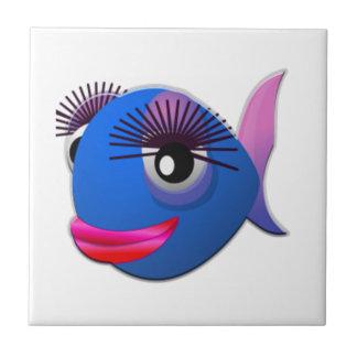 Big Eyelashes Cartoon Fish Ceramic Tile