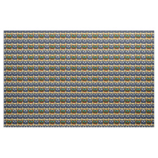 big eyes blue cat head tiled pattern inverse fabric