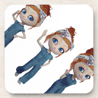 Big eyes doll Blue Coaster
