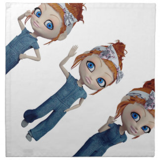 Big eyes doll Blue Napkin