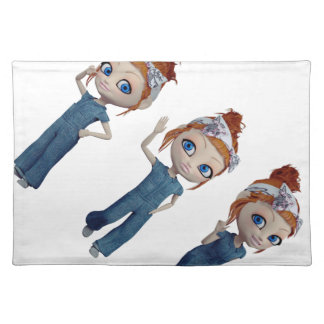 Big eyes doll Blue Placemat