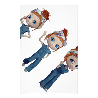 Big eyes doll Blue Stationery