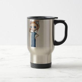 Big eyes doll Blue Travel Mug