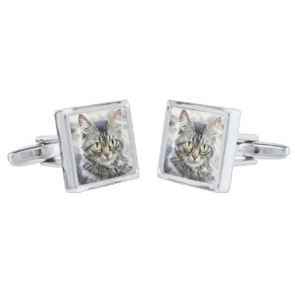 Big eyes silver finish cufflinks