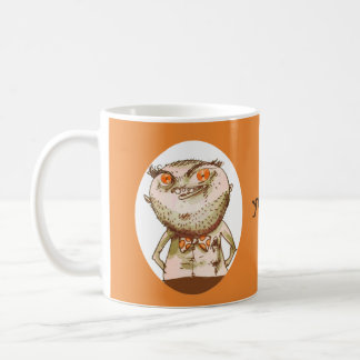 big eyes weird man funny cartoon coffee mug