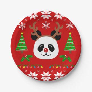 Big Face Panda Cartoon Christmas Antlers Paper Plate