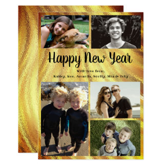 Big Family Happy New Year Gold Swirls Card