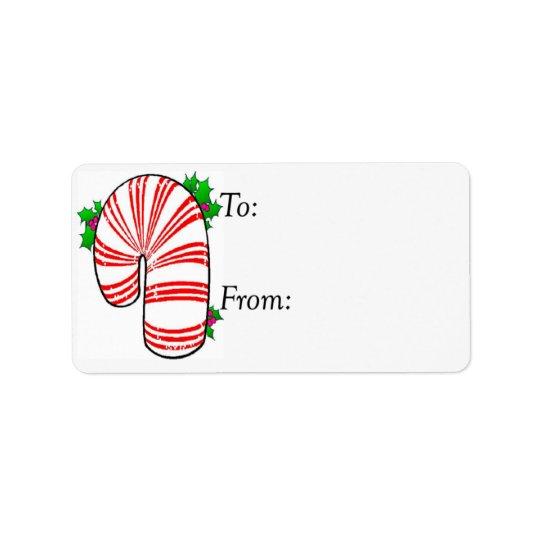 Big Fat Candy Cane Gift Tag Address Label