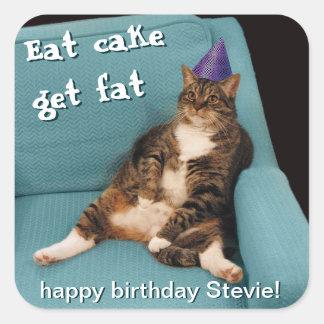 Big Fat Cat Sitting in Chair Purple Birthday Hat Square Sticker