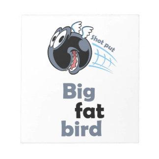 Big fat shot put bird notepad