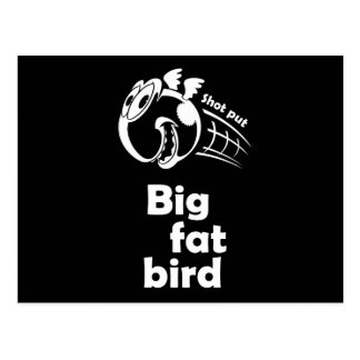 Big fat shot put bird postcard