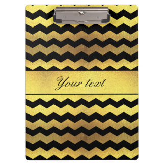 Big Faux Gold Foil Black Chevrons Clipboard