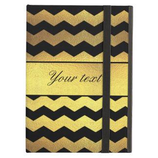 Big Faux Gold Foil Black Chevrons iPad Air Cover