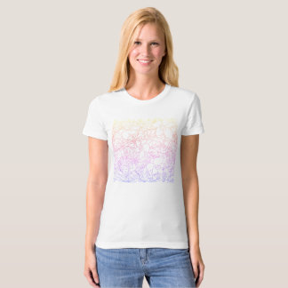 Big flowers and leaves with rainbow effect T-Shirt