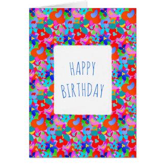 Big flowers customisable Happy Birthday Card