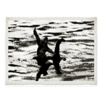 Big Foot and Bessie The lake monster sighting Postcard