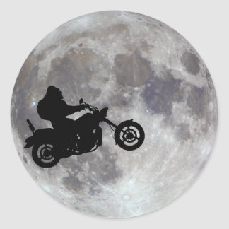 Big foot, big bike and a big bright moon classic round sticker