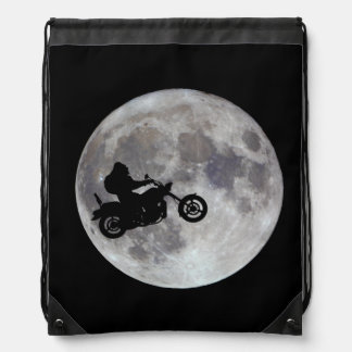 Big foot, big bike and a big bright moon drawstring bag