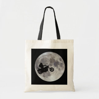 Big foot, big bike and a big bright moon tote bag