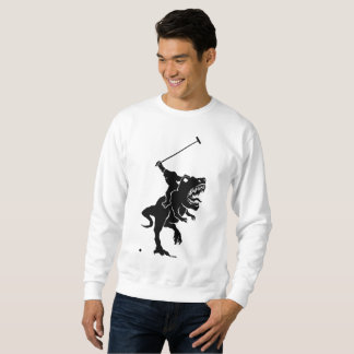 Big foot playing polo on a T-rex