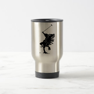 Big foot playing polo on a T-rex Travel Mug
