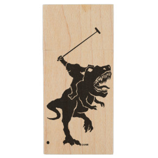 Big foot playing polo on a T-rex Wood USB Flash Drive