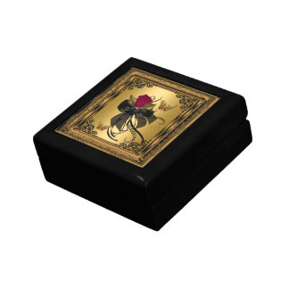 Big Gift Box Gold Red Rose Vintage Butterfly