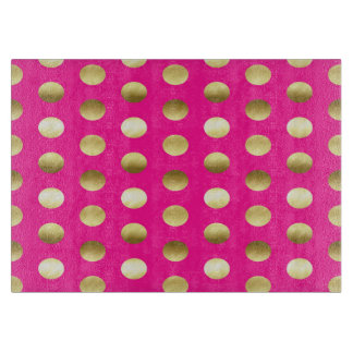Big Gold Foil Polka Dots Hot Pink Cutting Board