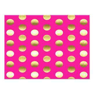 Big Gold Foil Polka Dots Hot Pink Photographic Print