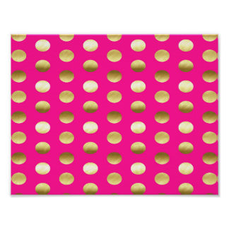 Big Gold Foil Polka Dots Hot Pink Poster