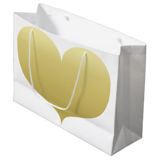 Big Gold Heart Valentine's Day Gift Bag