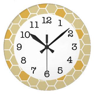 Big Gold Honeycomb Designer Wall Clock