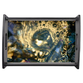 Big Golden Abstract Artful Blue Serving Tray