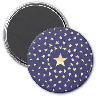 Big Golden Star circled by smaller stars Fridge Magnets