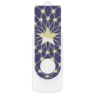 Big Golden Star circled by smaller stars USB Flash Drive